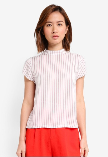 ZALORA white and pink and multi High Neck Boxy Top 205B3AA849C0D5GS_1