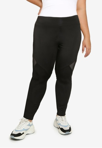 MISSGUIDED black Plus Size Airtex Panelled Leggings 21A5FAAE1AE91AGS_1