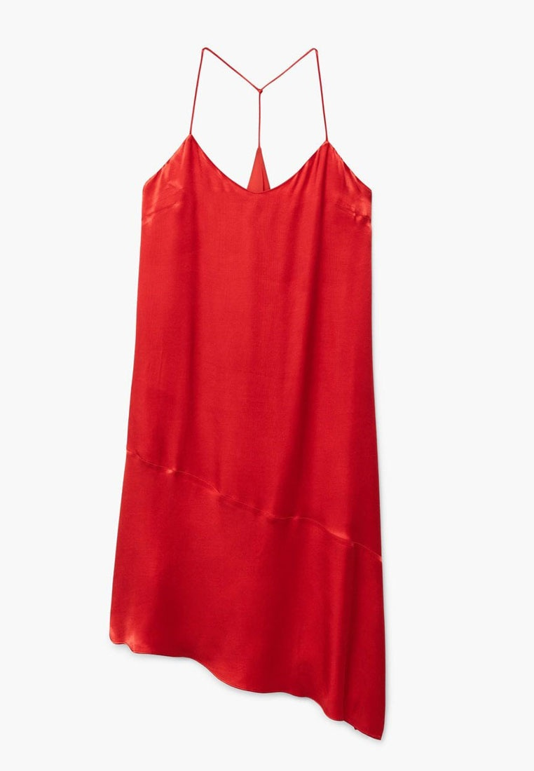 Satin Mango Red Red Asymmetrical Mango Dress Asymmetrical Dress Satin OzAaq0