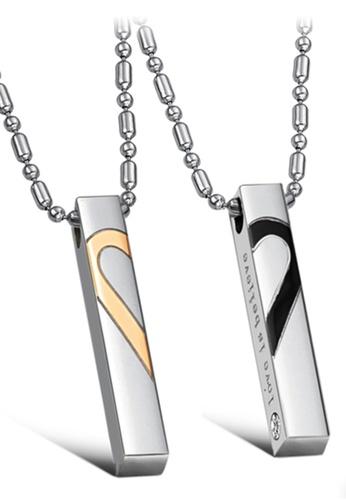 Trendyshop black and gold Matching Heart Couple Pendant Necklace Set B58C6AC2F7B50CGS_1
