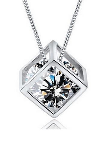 YOUNIQ silver YOUNIQ Cube 925 Sterling Silver Necklace Pendant with White Cubic Zirconia 38AE8AC9637553GS_1