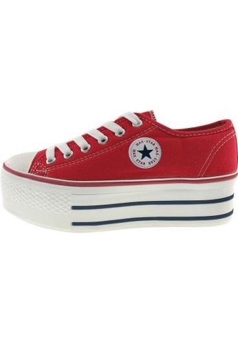 Maxstar 紅色 新款韩国鞋C50-6H時尚帆布布混合女紅色 US Women Size MA345SH64GUPTW_1