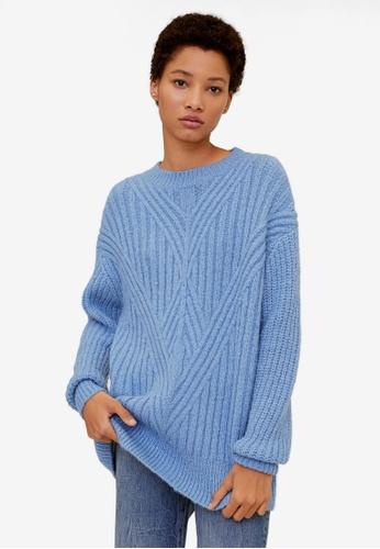 Mango blue Contrasting Pattern Sweater F3539AAFF83FCFGS_1
