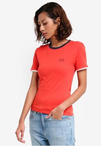 Jack Wills red Trinkey Ringer T-shirt 7DD7BAA3BBD76FGS_1
