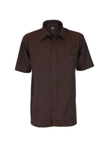 The Savile Row Co. brown The SAVILE ROW Co Men's Short Sleeve Regular Fit Brown Shirt (SV809-036-BR) 236DEAA35BAF18GS_1