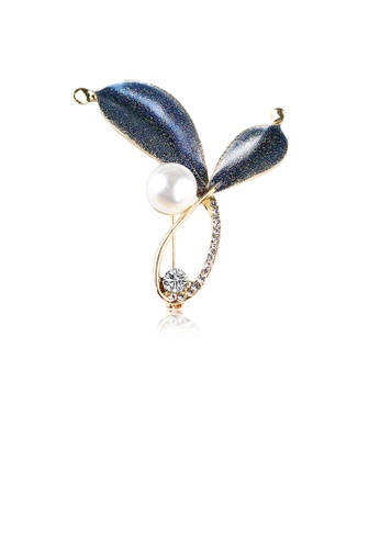 Glamorousky white Fashion and Elegant Plated Gold Blue Leaf Imitation Pearl Brooch with Cubic Zirconia A552FACB821C26GS_1