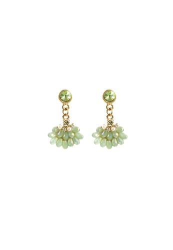 La Miina green Tanya Rhinestone Earrings 3D661AC4DBEBE7GS_1