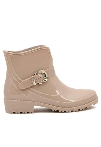 Twenty Eight Shoes beige Buckle Ankle Rain Boot 888-1 TW446SH13MWGHK_1