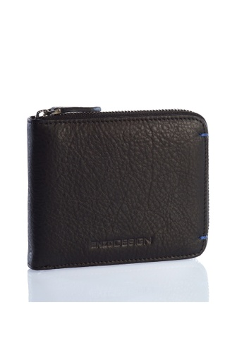 ENZODESIGN black and blue Ultra Soft Cow Leather Zip Around Wallet EN357AC0F57XSG_1
