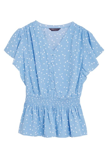 MARKS & SPENCER blue M&S Floral V-Neck Short Sleeve Peplum Top D3440AAB5DF467GS_1