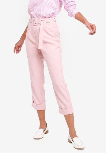 ZALORA BASICS pink Basic Belted Tapered Trousers 0DE62AA7153A79GS_1
