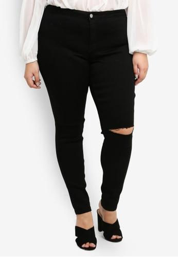 MISSGUIDED black Plus Size High Waisted Slash Knee Skinny Jeans 57B85AA24D95BBGS_1