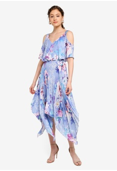 0d9fb228f1f0 Lipsy blue Pleated Cold Shoulder Printed Midi Dress 240E0AABC0DDC4GS_1