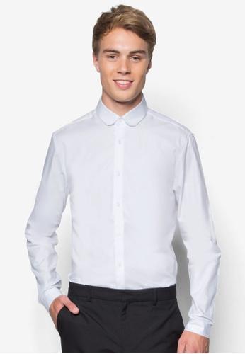 Topman 白色 Premium 小圓領商務長袖襯衫 TO413AA99PQEMY_1