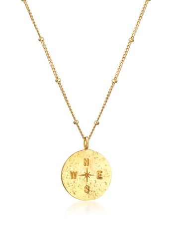 ELLI GERMANY gold Elli Germany Necklace Compass Platelet Pendant Vintage Look in 925 Sterling Silver Gold Plated 5EE4CAC86E2745GS_1