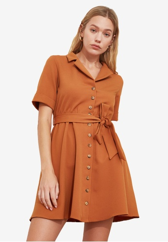 Trendyol brown Belted Flare Shirt Dress D88E0AA1B6C206GS_1
