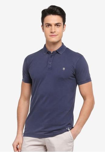 Indicode Jeans 海軍藍色 水洗短袖POLO衫 1693AAA4B0FDD6GS_1