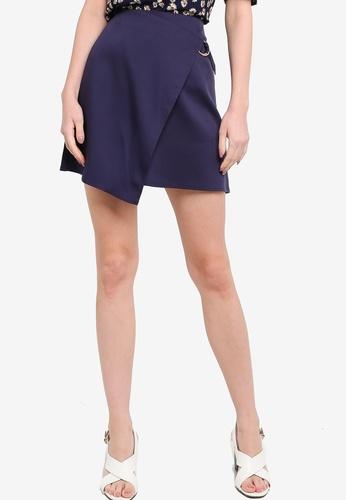ZALORA WORK navy D Ring Wrap Skirt 105C5AAE2A3E92GS_1