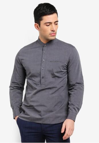 MANGO Man grey Regular-Fit Mao Collar Shirt BE8FFAA9DB1647GS_1
