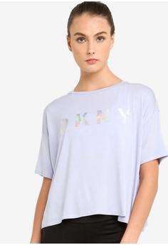 8b158864b7c76 DKNY blue Iridescent Foil Logo Short Sleeve Tee With Open Overlapped Back  D3256AAD108E19GS 1