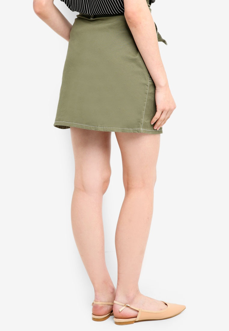 Skirt Cotton Twill On Utility Mini Khaki Woven xwqHBAf