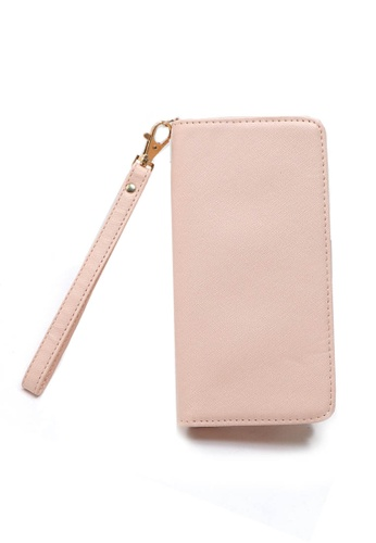 LULUGIFT pink Multiple Function Long Width PU Leather Wallet LU989AC26LZDMY_1