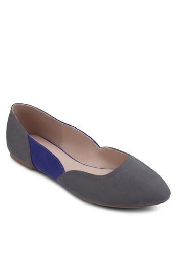 撞esprit 台中色側拼接尖頭平底鞋, 女鞋, 鞋