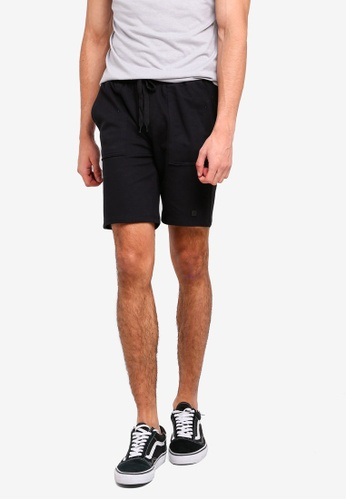 Penshoppe black Mid Rise Knit Shorts With Drawstring 1AE05AA1118A5AGS_1