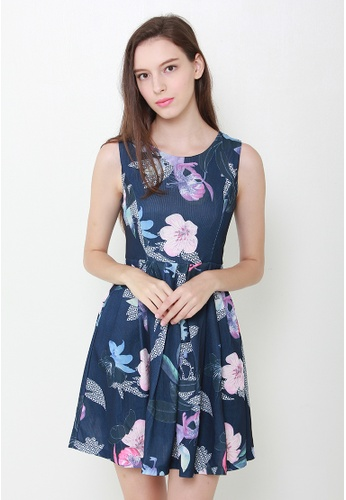 Leline Style blue Pretty Summer Floral Skater Dress LE802AA48CFRSG_1