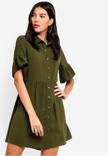 ZALORA green Dropped Waist Button Down Dress A2D3DAACF775E9GS_1