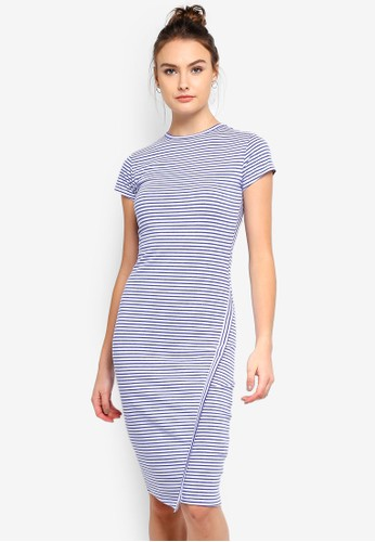 Cotton On white and blue Anthea Short Sleeve Midi Dress A44C4AA76A760FGS_1