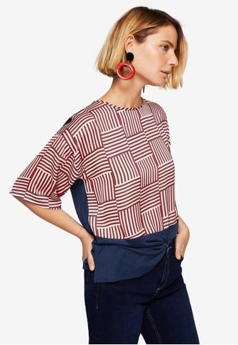 Mango beige Contrasting Design T-Shirt 11D40AA7563F58GS_1