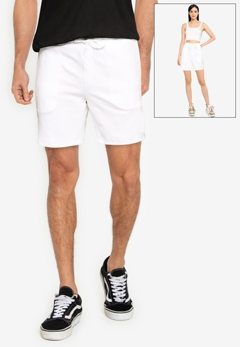UniqTee white Comfort Fit Sweat Shorts with Drawstring 4C898AA367F622GS_1
