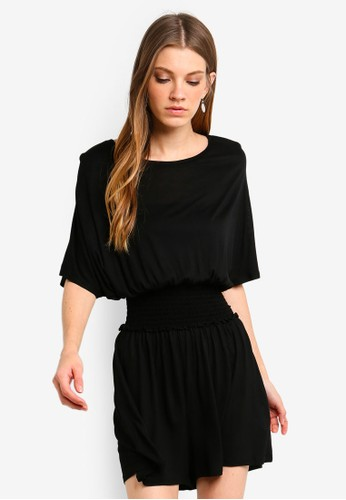 Brave Soul black Solid Colour Batwing Playsuit With Shirring Detail A44F8AAC780579GS_1