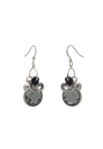 Jaysa Collection black Space Grey Dangle Earrings with Dark Crystals JA875AC0GO94SG_1