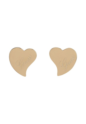 Guess gold Heart With Logo Stud Earrings 4F479ACA460B0BGS_1