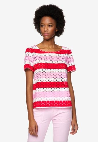 United Colors of Benetton 粉紅色 鏤空寬條造型上衣 471D5AA4A71FB8GS_1