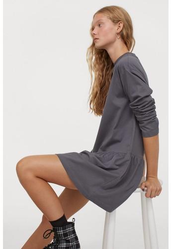 H&M grey Cotton jersey dress 6F16BAA1C95145GS_1