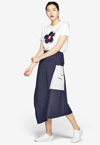 不對稱下擺條紋及膝短esprit 京站裙, 服飾, 印花時代