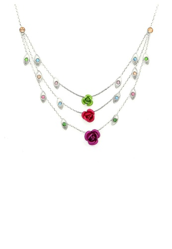 Glamorousky silver Elegant Rose Necklace with Multi Color Austrian Element Crystals 700BAAC8EBED55GS_1