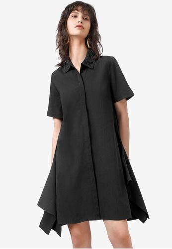 Saturday Club 黑色 Draped 襯衫洋裝 34C4FAAE17916AGS_1