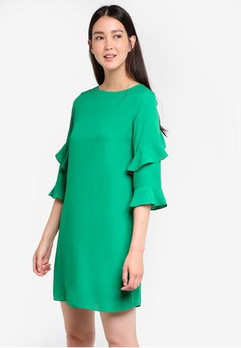 Dorothy Perkins green Green Ruffle Shift Dress DO816AA16DDFMY_1