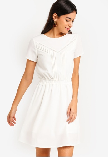 ZALORA white Fit And Flare Lace Dress With Pin Stripes CB653AA9B21F7AGS_1