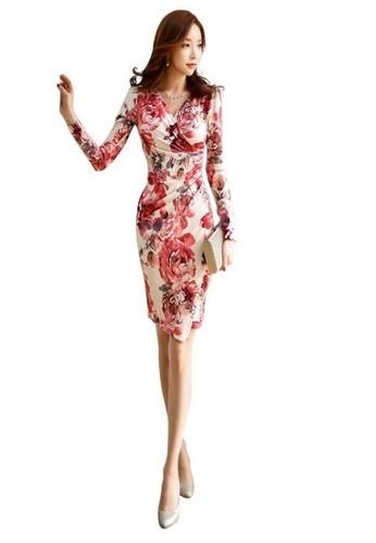 69625eff9 Buy Crystal Korea Fashion Autumn New V-neck Temperament Slim Printed ...
