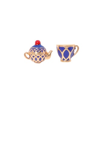 Glamorousky silver Fashion Personality Plated Gold Enamel Teapot Teacup Asymmetrical Stud Earrings 81256ACCC73311GS_1