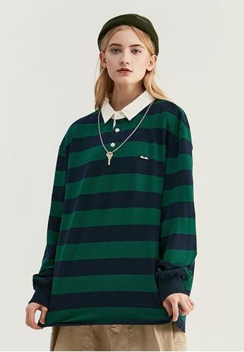 Twenty Eight Shoes Retro Contrast Stripe Long T-shirt 91504W 2CC11AA126C45BGS_1