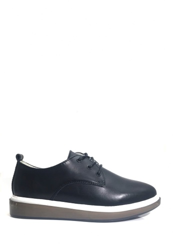 Twenty Eight Shoes black Simplicity Thick-Flat Leather Shoes VL8512 1F17CSH1BCDAC1GS_1