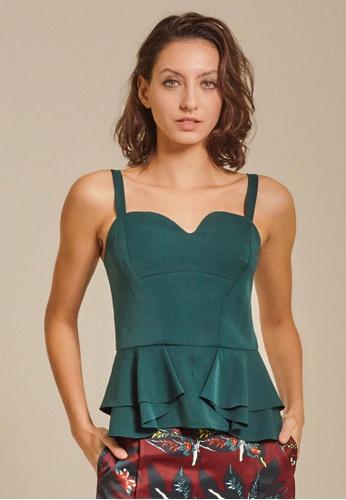 Dressing Paula green Ruffled Crepe Peplum Top 12FFCAA66D303CGS_1