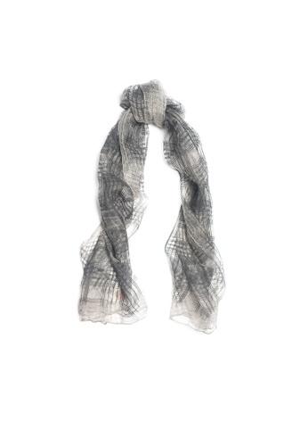 OBX grey OBX Fine Checkered Silk Scarf AD0B8ACD5CA49FGS_1