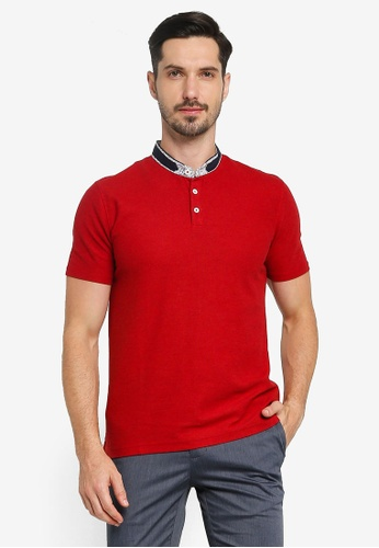 G2000 red Floral Stand Collar Polo Shirt A0A00AA33433D6GS_1